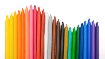 lined up: 24-color crayon lined up in row Stock Photo