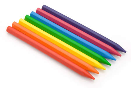 lined up: 7-color crayon lined up  Stock Photo