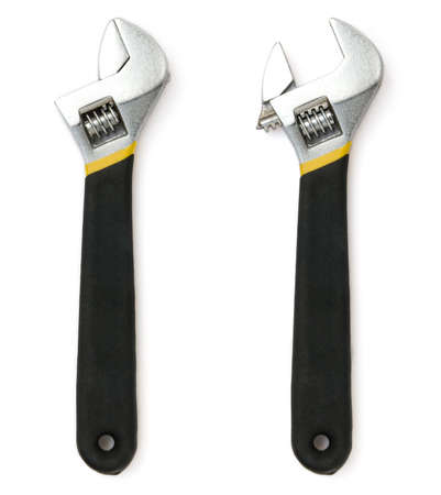 adjustable wrench on white background Banco de Imagens