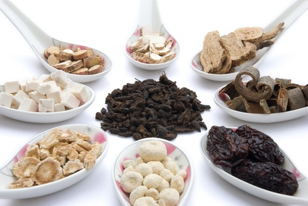 chinese herbs blends on white