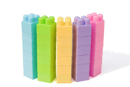 columns shaped from colorful toy bricks Stock Photo - 17610806