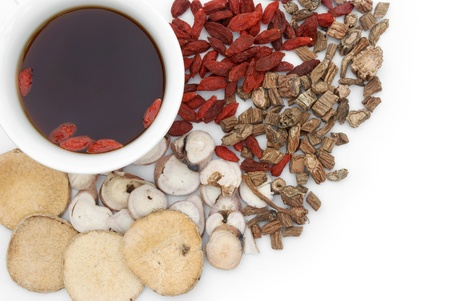 top view chinese herbs blends and herb tea