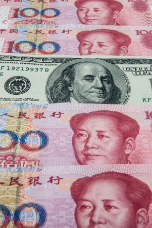 redemption of the world: USD in mid of RMB Stock Photo