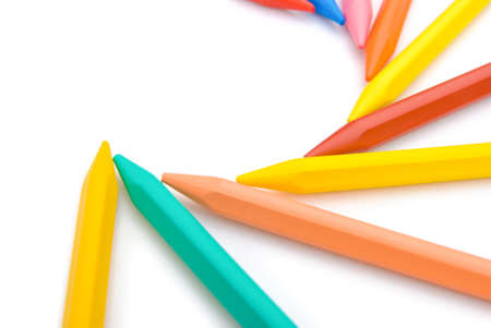 lined up: 9-color crayon lined up in curved