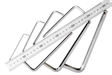 standard steel: allen key set with a standard stainless steel ruler