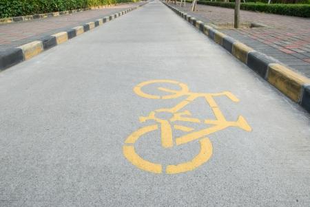 bicycle lane: bicycle lane with symbol Stock Photo