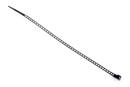 cable tie: black plastic cable tie on white Stock Photo
