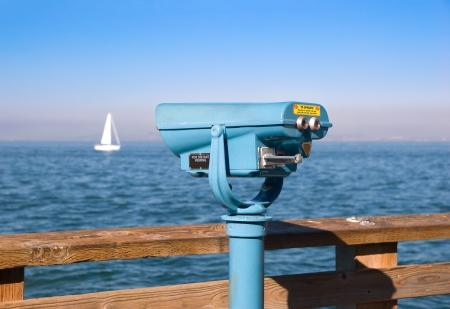 far away look: Coin operated binoculars