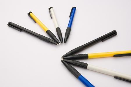 ballpen: different color ball pens on white