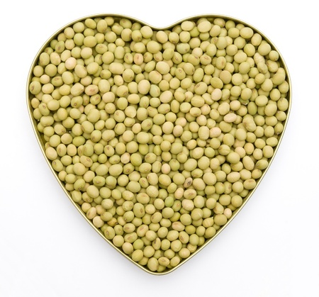 heart shaped dry mung beans photo