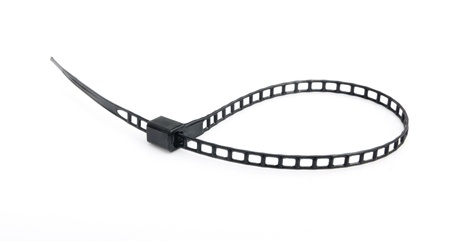 zip tie: loop shape black plastic cable tie on white