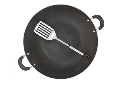 top view wok and spatula  photo