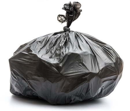 waste disposal: Garbage bag on white background Stock Photo