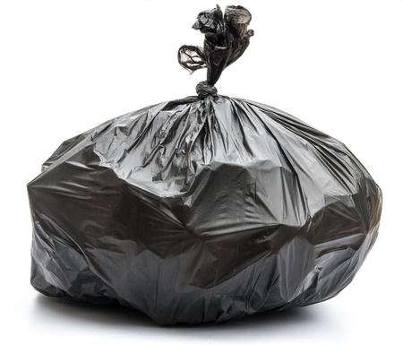 waste disposal: Garbage bag on white background Stock Photo