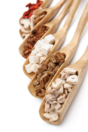 herbal medicine: chinese herbs on wooden spoons Stock Photo