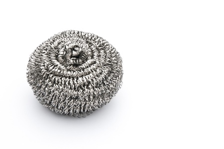steel wool: steel wool dishwashing on white with copy space Stock Photo