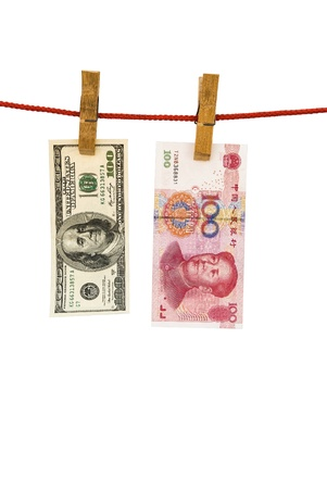 upvaluation: USD and RMB hanging with clipping path, money-laundering