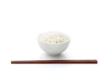 rice and chopstick on white with clipping path