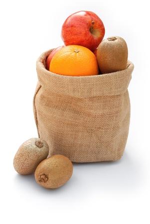 gunny: fruit in gunny bag on white Stock Photo