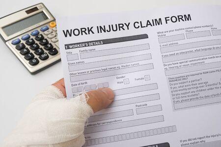 Hurted hand die een werk schade claimformulier