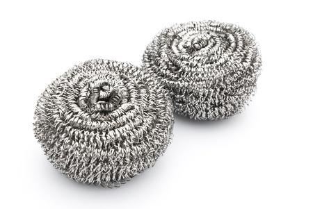 steel wool: two steel wool dishwashing on white background Stock Photo