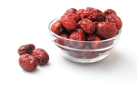 dried jujube in glass bowl,traditional chinese herbal medicine