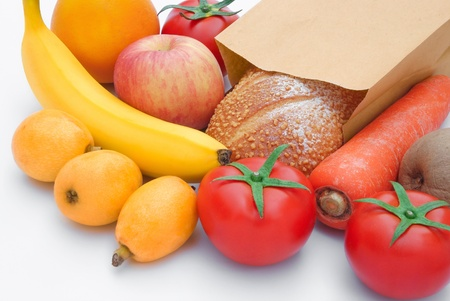 food stuff: fresh food stuff and a paper bag Stock Photo