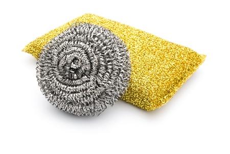 steel wool: two kinds of steel wool dishwashing on white background