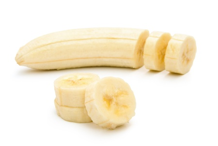 banana skin: unskin banana slices  with clipping path, horizontal composition