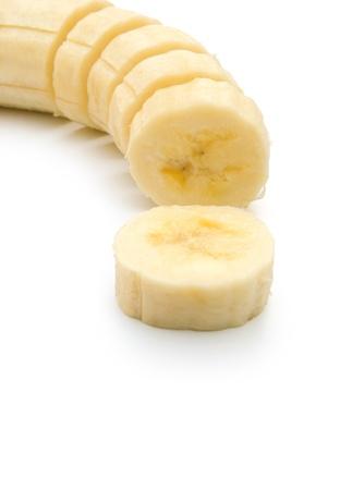 banana skin: unskin banana slices, vertical composition Stock Photo
