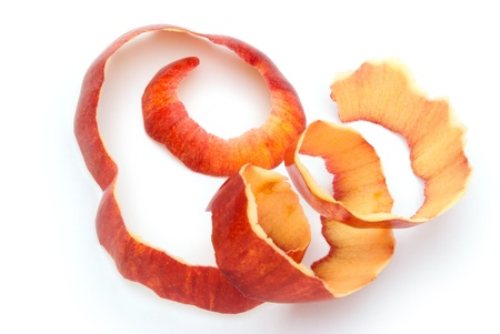 peels: apple skin on a white background