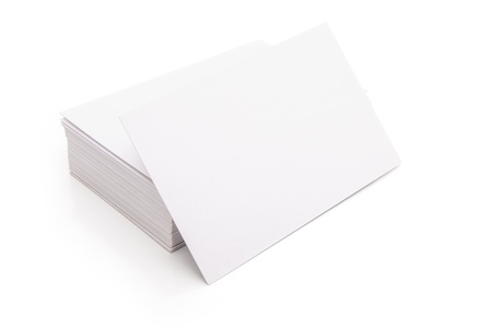 blank business cards stack up on white with clipping path