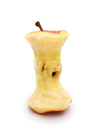biten: core of a red apple on white stand up Stock Photo