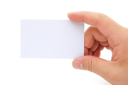 hand holding a blank business card with clipping path Stock Photo