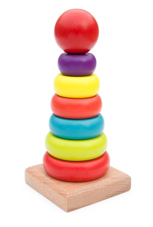 wooden pyramid for children with clipping path