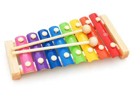 colorful xylophone on white with clipping path
