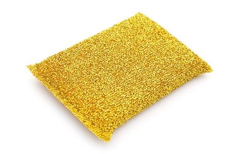 steel wool: side view golden steel wool dishwashing on a white background Stock Photo