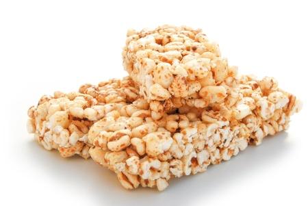 puffs: three pieces sweet rice puffs blocks on a white background