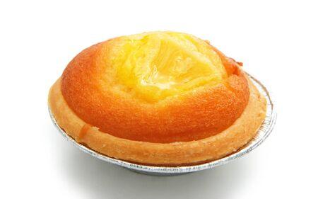 egg tart: egg tart on white