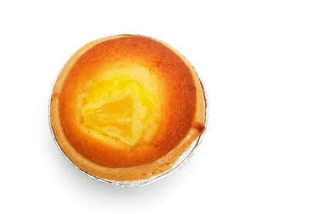 egg tart: top view egg tart on white with clipping path