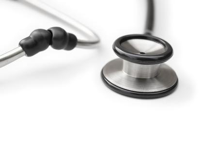 phonendoscope: black stethoscope on a white horizontal