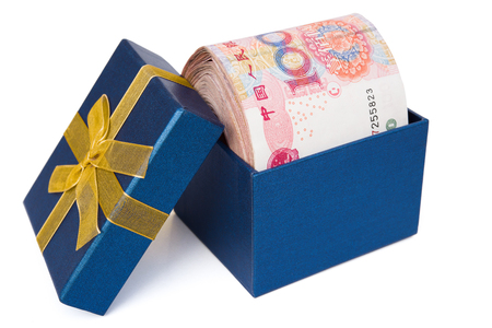 perks: big stack of RMB in a blue present box with clipping path