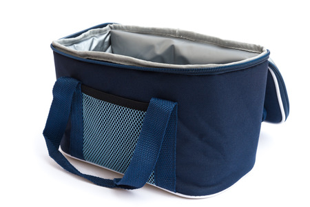 blue lunch pack carrier on a white background photo