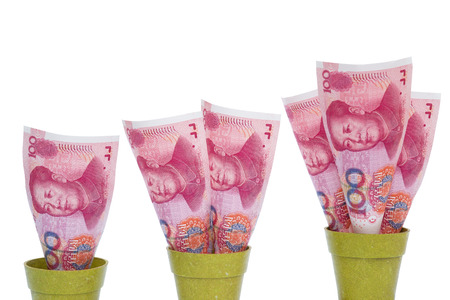 upvaluation: RMB rising on white with clipping path Stock Photo