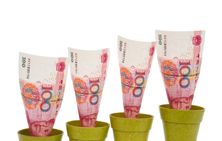 valorization: RMB rising on white background with clipping path Stock Photo