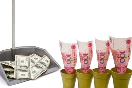 upvaluation: RMB rising and USD in rubbish bin with clipping path