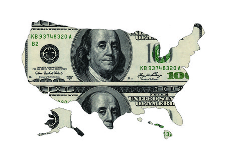 map of USA shaped by USD paper currency photo
