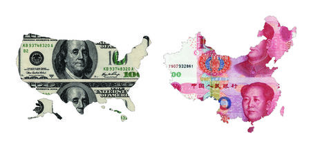 maps of USA and China shaped by paper currency photo