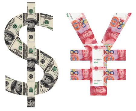 upvaluation: usd and rmb sylmbols shaped by paper currency