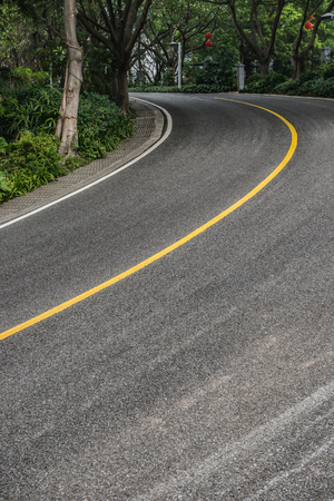vertical dividers: curved road with trees on both sides